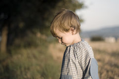Boy Wearing A Kinder Garden Overall Stock Images