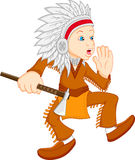 Boy wearing american indian costume Stock Images