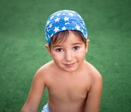 Boy wearing bandana Stock Image