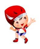 Boy wearing baseball outfit Stock Image