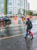 Nizhnevartovsk, Russia-June 5, 2019: boy on bike waiting for green traffic light stock image