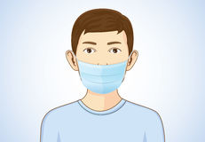 Boy wearing breath mask Stock Images