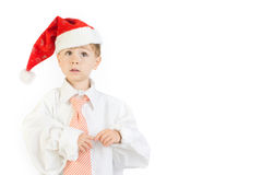Boy wearing Christmas cap Royalty Free Stock Photography