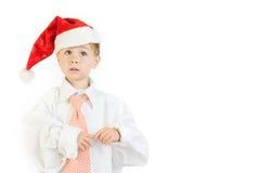 Boy wearing Christmas cap royalty free stock photography
