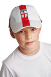 Boy wearing England Football Cap. Studio on white background Stock Images