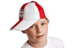 Boy wearing England Football Cap Stock Photo