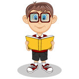 A boy wearing glasses reading a book with smile cartoon Stock Photo