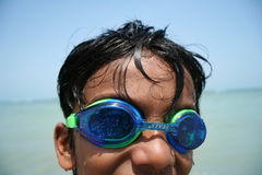 Boy wearing googles. Boy on the beach wearing googles Royalty Free Stock Images