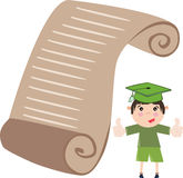 Boy wearing graduation cap and standing near a big diploma Royalty Free Stock Images