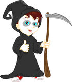 Boy wearing grim reaper with scythe costume Stock Images