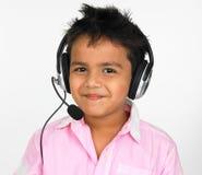 Boy Wearing Head Phones Stock Photos