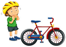 Boy wearing helmet before riding bike Royalty Free Stock Photo