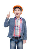 Boy wearing helmet and thinking over white Royalty Free Stock Images