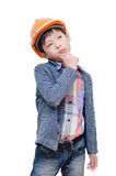 Boy wearing helmet and thinking over white Stock Photography