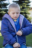 Boy wearing a jacket with a zipper Royalty Free Stock Photography
