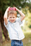 A boy wearing a knitted crown Royalty Free Stock Images