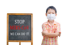 Boy wearing mask with text Royalty Free Stock Photography