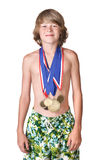Boy wearing medals Royalty Free Stock Photo