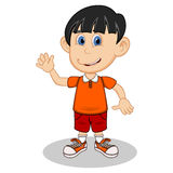A boy wearing orange shirt and red pants was waving his hand cartoon Stock Image