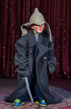 Boy Wearing Over Sized Coat Wearing Clown Make Up Royalty Free Stock Photography