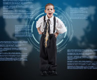 Boy wearing oversized clothes Stock Images