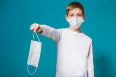 Boy wearing protection mask suggesting mask Royalty Free Stock Photos