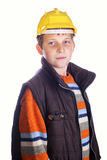 Boy wearing protective helmet Stock Images