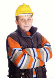 Boy wearing protective helmet Stock Photos