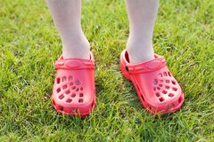Boy wearing Sandals Royalty Free Stock Images