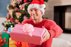 Boy wearing Santa Claus hat Royalty Free Stock Photo