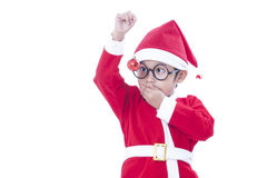 Boy wearing Santa Claus uniform Stock Photography