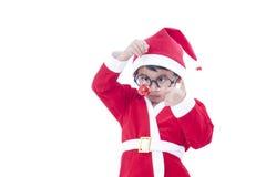 Boy wearing Santa Claus uniform Stock Photo