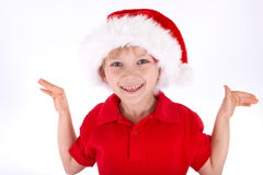 Boy Wearing Santa Hat Stock Photo