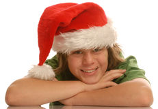 Boy wearing santa hat Stock Image