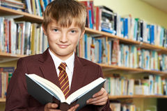 Boy Wearing School Uniform Reading Book In Library. Boy Wearing School Uniform Reads Book In Library Royalty Free Stock Images