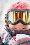 Boy wearing ski goggles Stock Photo