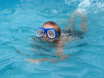 The boy wearing spectacles for swimming swims in the pool Royalty Free Stock Image