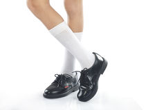 Boy wearing the sports Shoes Stock Images