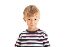 Boy wearing a striped T-shirt. Smiling face royalty free stock image