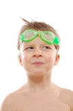 Boy wearing swimming  goggles Royalty Free Stock Images