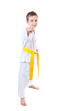 Boy wearing tae kwon do uniform Stock Photography