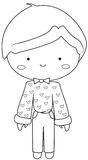 Boy wearing vintage dress coloring page Stock Image