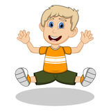 A boy wearing a yellow shirt and black trousers jumping for joy cartoon Royalty Free Stock Images