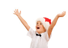 Boy welcoming the christmas season Stock Photo