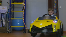 The Boy Went to the Children`s Car stock footage