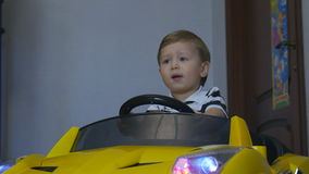 The Boy Went to the Children`s Car stock video footage