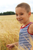 Boy in a wheat field Stock Images