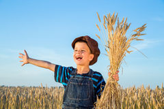 Boy on wheat field Stock Image