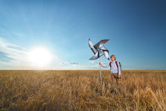 Boy in a wheat field Royalty Free Stock Photography