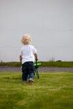 Boy with Wheelbarrow. A young boy pushing a wheelbarrow on grass Royalty Free Stock Photo